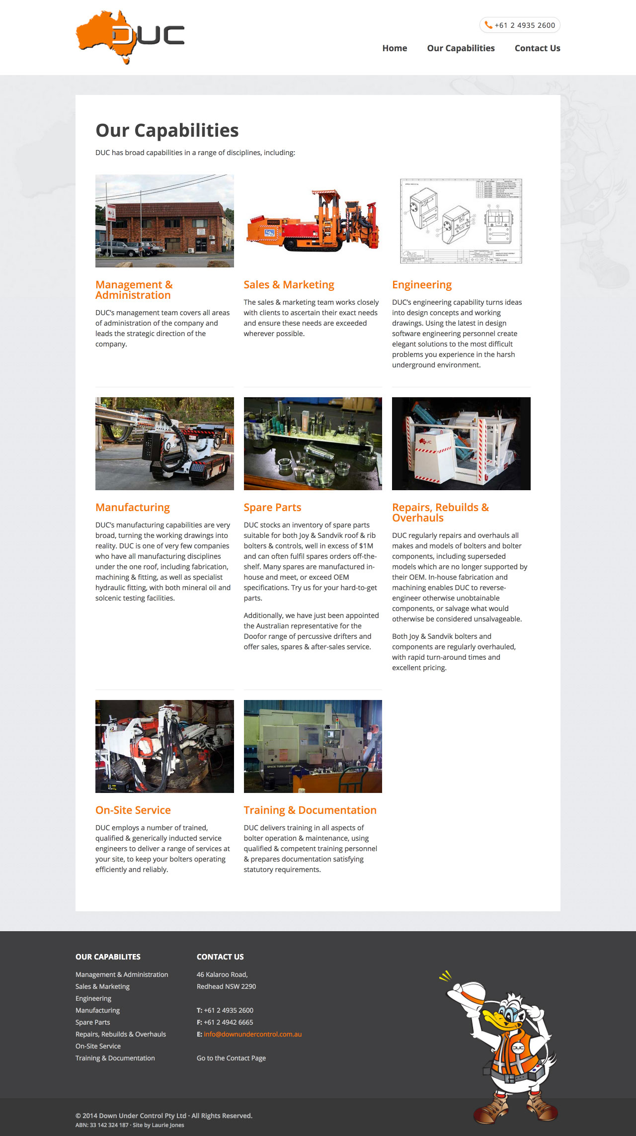 Capabilities Page Design